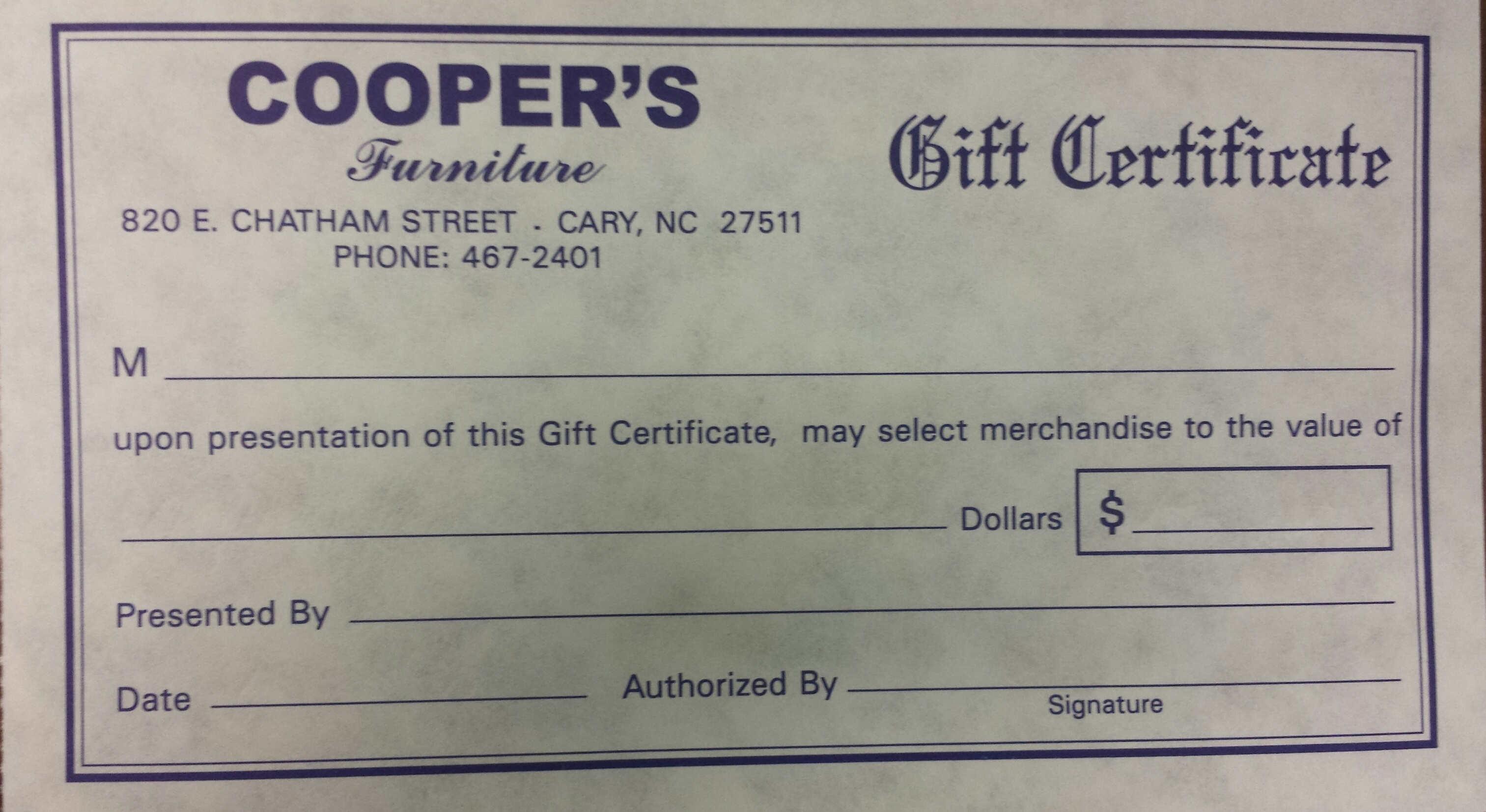 we sell gift certificates cooper s furniture gift certicate